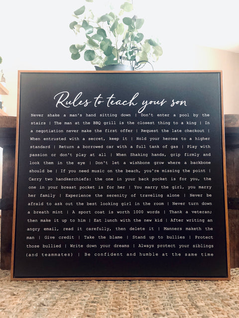 Rules For My Son Framed Canvas Sign