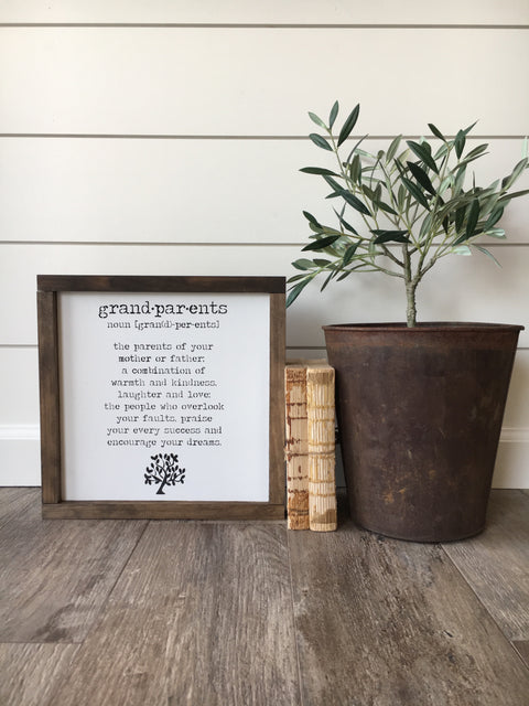 Grandparent Noun Wooden Framed Sign