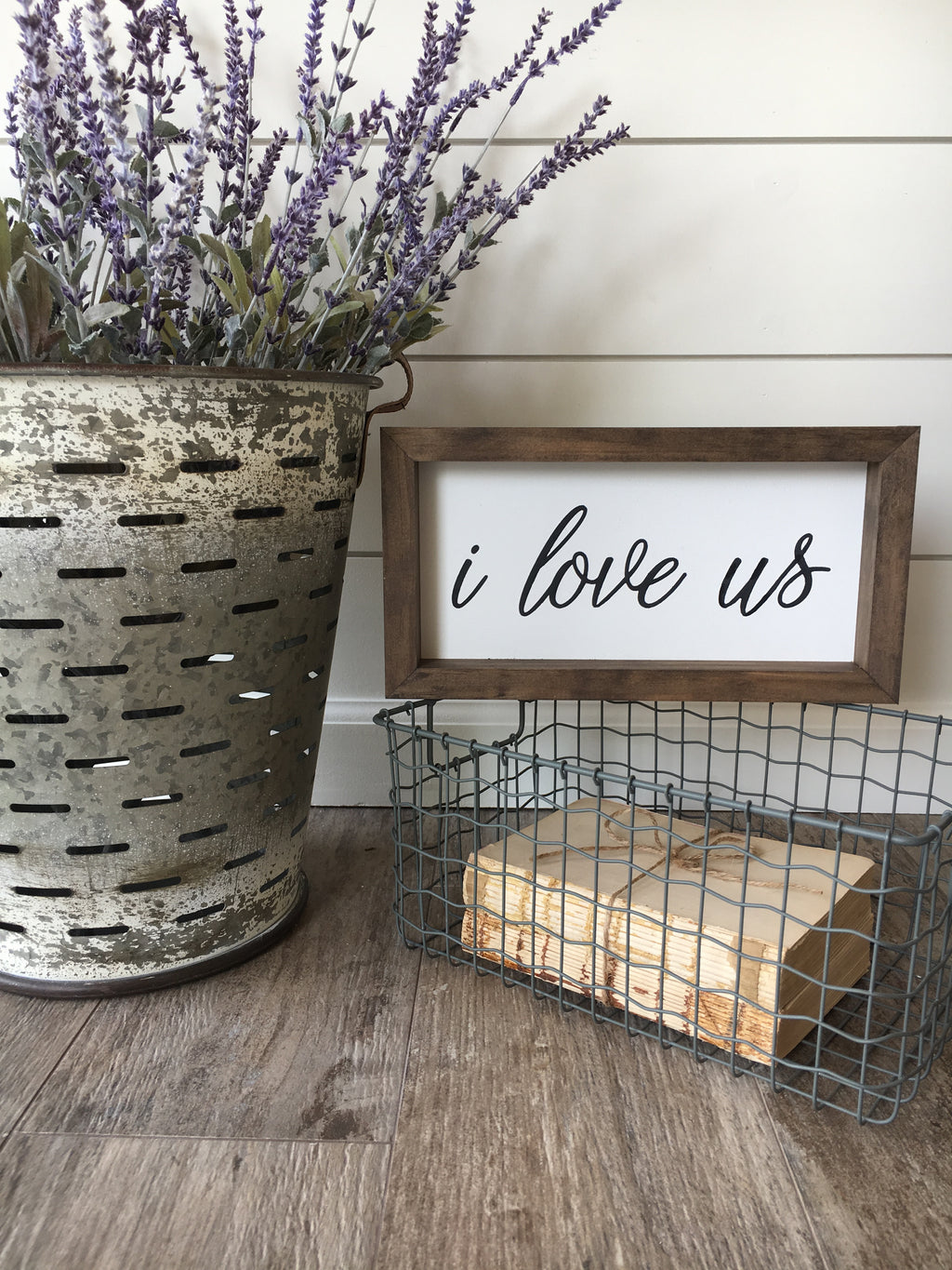 I Love Us Wooden Framed Sign