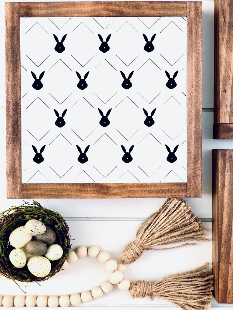 Criss Cross Bunny Wooden Sign