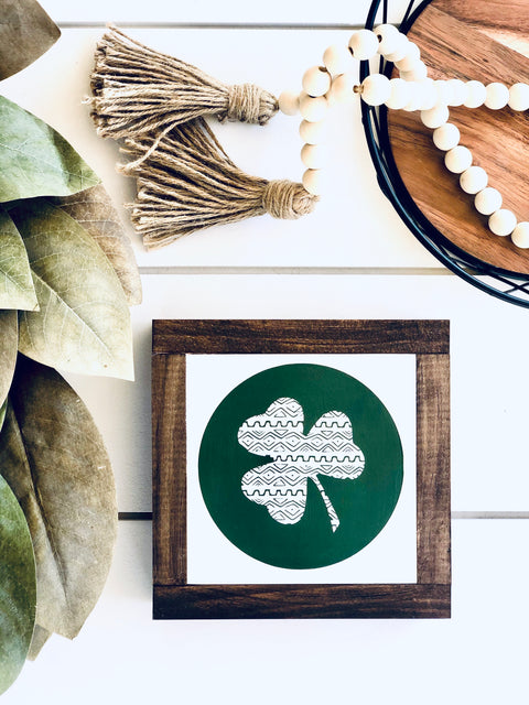 Boho Clover Wooden Sign