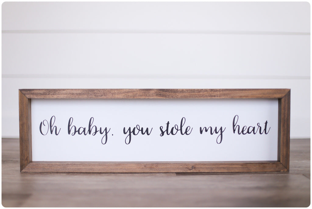 Oh Baby Wooden Framed Sign