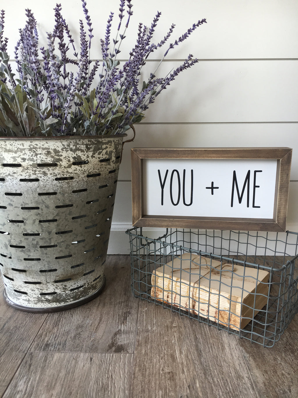 You and Me Framed Wooden Sign