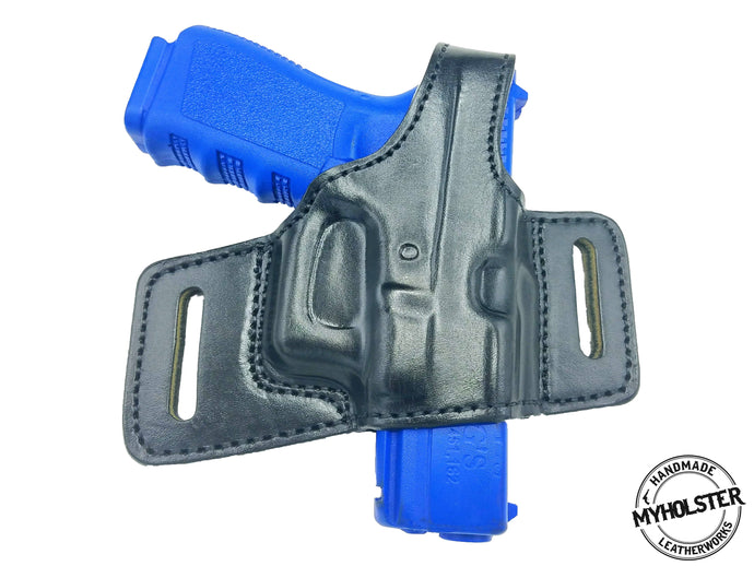 GLOCK 19 OWB Quick Draw Leather Slide Holster W/Thumb-Break