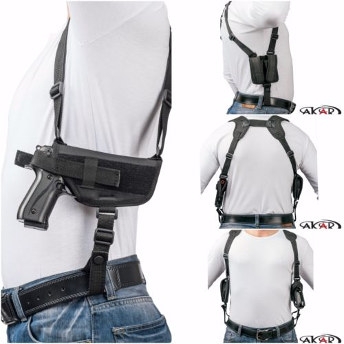 SCCY CPX-1 & CPX-2 Nylon Horizontal Shoulder Holster with Double Mag Pouch RH