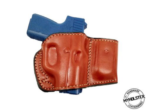 OWB Belt Leather Holster with Magazine Pouch Fits GLOCK 43