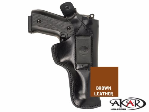 Dual Carry IWB / Belt Brown Leather Holster fits Glock 19, Akar