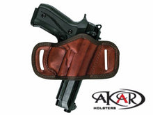 Load image into Gallery viewer, Beretta 92G BLACK OR BROWN LEATHER QUICK DRAW BELT SLIDE OWB HOLSTER