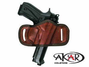 Beretta 92G BLACK OR BROWN LEATHER QUICK DRAW BELT SLIDE OWB HOLSTER