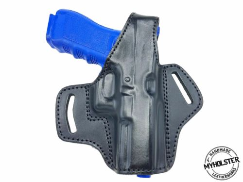 OWB Thumb Break Leather Belt Holster Fits Smith & Wesson M&P 9 M2.0 Compact