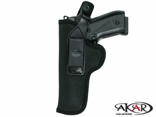 Black Nylon Compact IWB/OWB inside/outside waistband W/ Steel Clip Holster