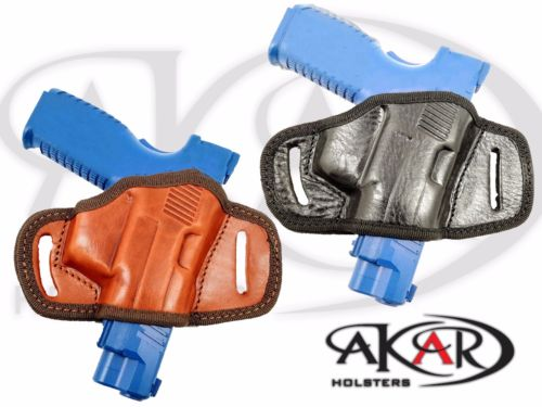 BLACK OR BROWN LEATHER QUICK DRAW BELT SLIDE OWB HOLSTER Heckler & Koch HK 45