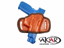 Load image into Gallery viewer, BLACK OR BROWN LEATHER QUICK DRAW BELT SLIDE OWB HOLSTER Fits Glock 17/22/31