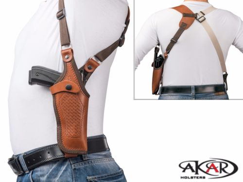 Vertical Shoulder Leather Holster Fits GLOCK 17 - Choose your Color & Hand -