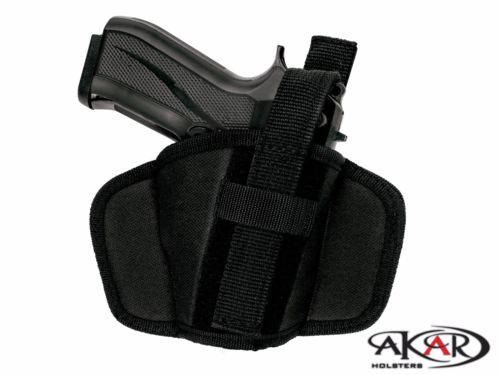 HONOR GUARD 9mm Leather & Nylon Thumb Break Pancake Belt Holster, Akar