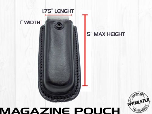 OWB Universal Leather Magazine Pouch w/Snap Holster Fits 9mm, .40 calibers
