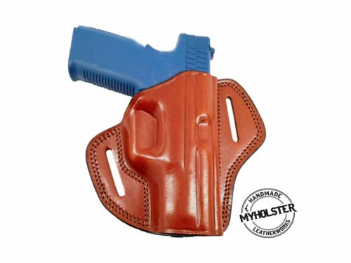 Right Open Top Leather Belt Holster Fits Glock 19