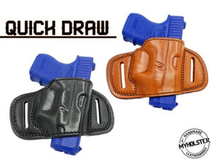 QUICK DRAW OWB BELT HOLSTER Brown/Black Leather For Glock 26/27/33