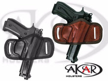 Load image into Gallery viewer, Beretta 92fs BLACK OR BROWN LEATHER QUICK DRAW BELT SLIDE OWB HOLSTER