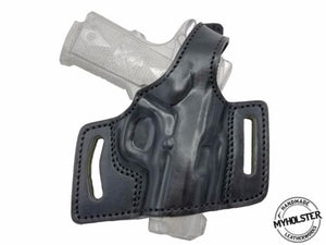 "Springfield 1911 EMP 3"" OWB Quick Draw Leather Slide Holster W/Thumb-Break"