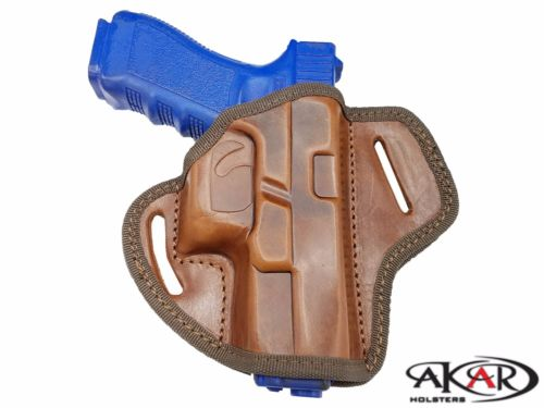 Right Hand Open Top Leather Belt Holster Fits GLOCK 17,19 , Akar