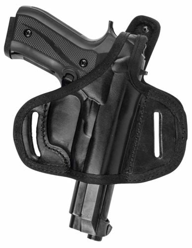 Black Leather Right Hand OWB Thumb Break Belt Holster Fits GLOCK 17 19 21,26,36,44
