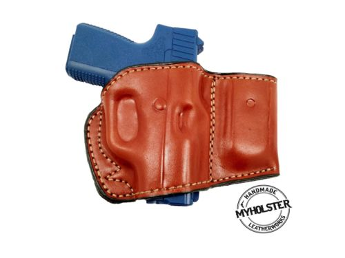 Belt Holster with Mag Pouch Leather Holster Fits Glock 26/27/33