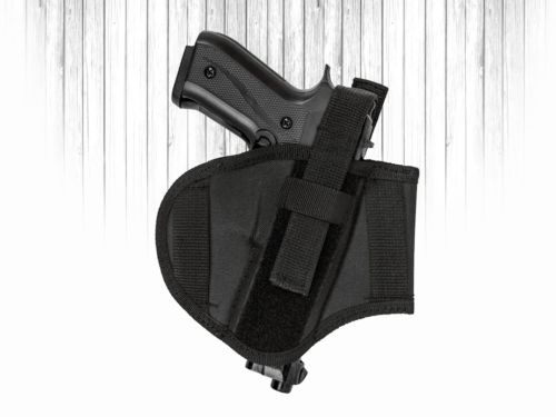 Akar Black Nylon Ambidextrious R/L handed Belt Holster W/ adjustable thumbrake