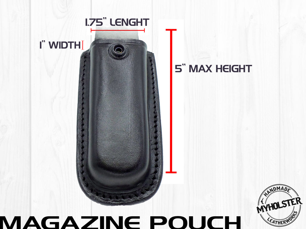OWB Universal Leather Magazine Pouch w/Snap Holster Fits  9mm, .40 , .45 calibers