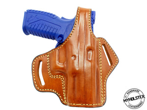 "Springfield XDM 9mm 3.8"" OWB Thumb Break Right Hand Leather Belt Holster"