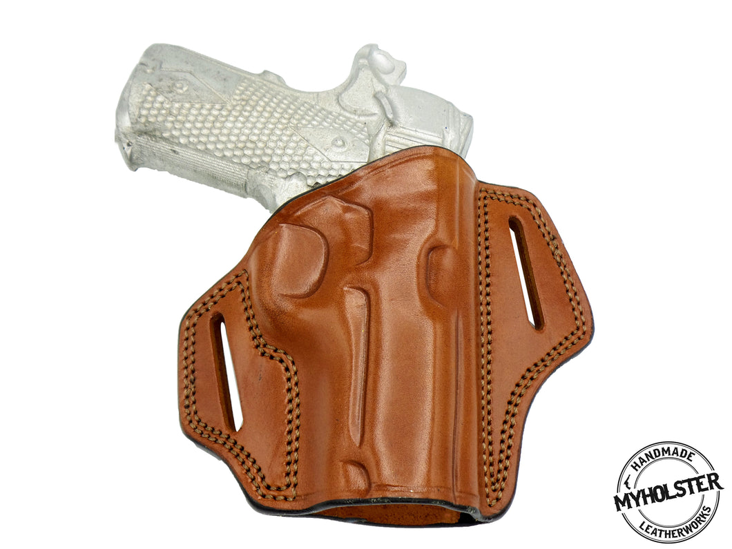 S&W M&P 380 Shield EZ OWB Open Top Right Hand Leather Belt Holster