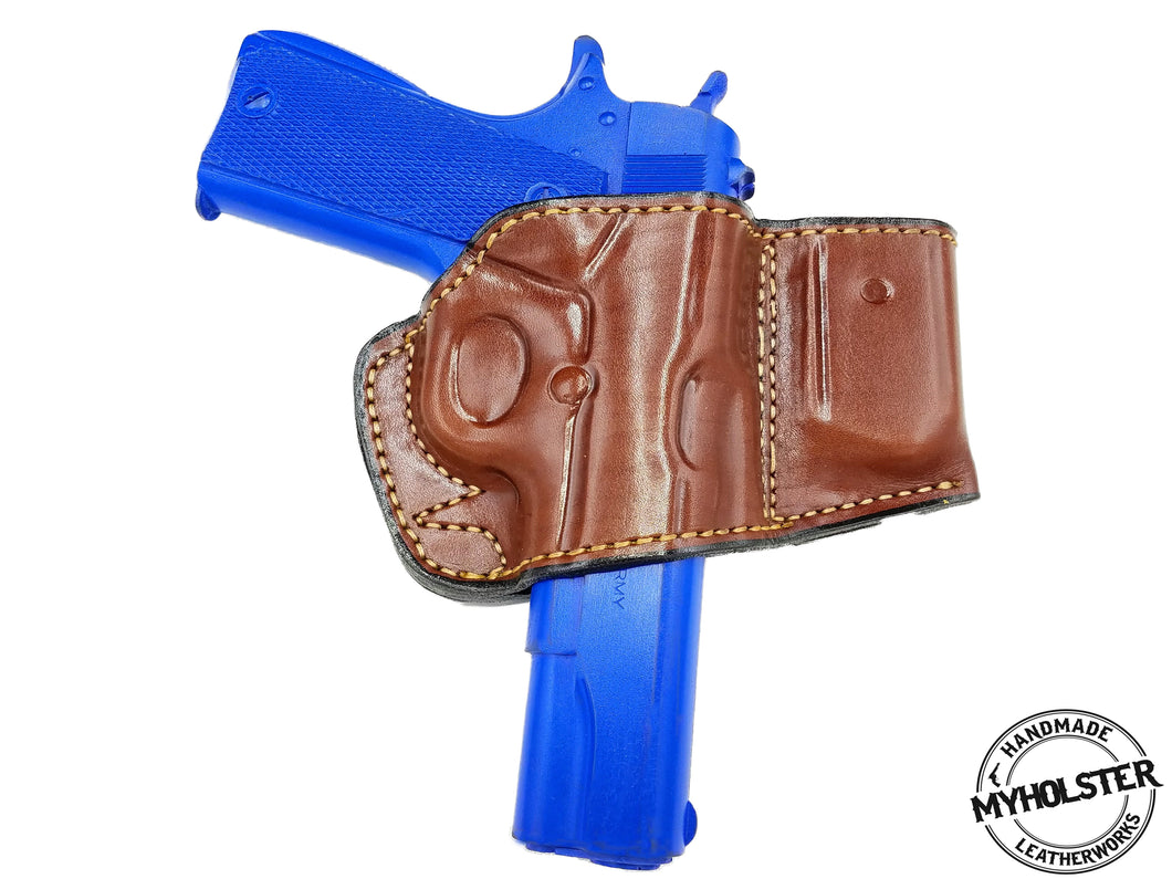 1911 5-Inch Colt, Kimber, Para, Springfield  Belt Holster with Mag Pouch Leather Holster