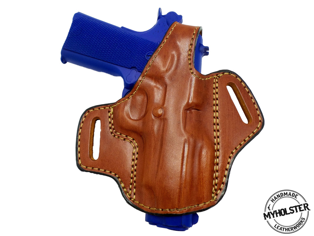 Springfield Micro Compact 1911 OWB Brown Thumb Break Right Hand Leather Belt Holster - PICK YOUR COLOR & HAND