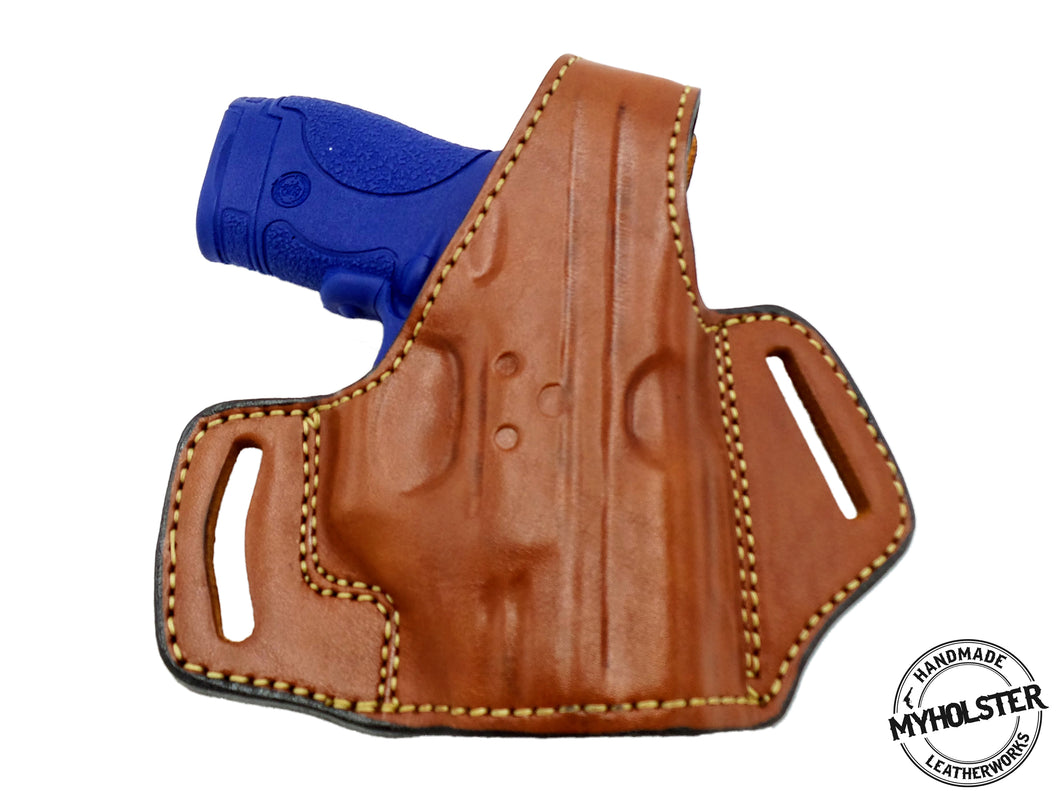 OWB Thumb Break Leather Belt Holster Fits SMITH & WESSON SHIELD (9, .40)  W/CRIMSON TRACE