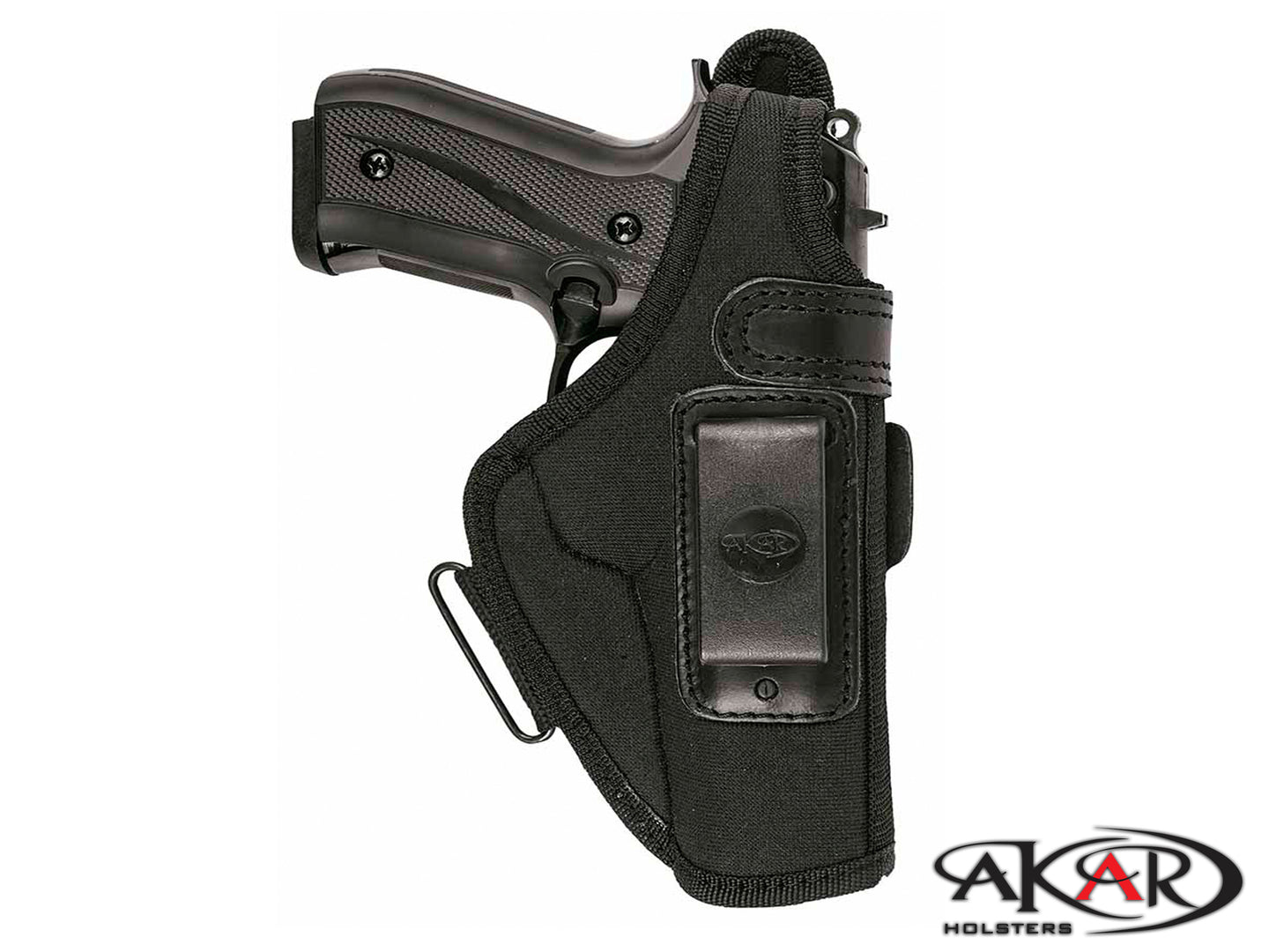 Akar Black Nylon Special Belt  IWB/ITP Holster W/ Steel Clip and thumbrake