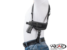 S&W M&P 9 40 45 Nylon Horizontal Shoulder Holster with Double Mag Pouch RH