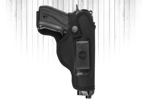 Akar, Universal  Black Nylon IWB/ITP W/ Clip and Thumb-break Holster Large