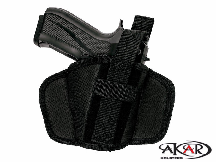 SCCY CPX-1, CPX-2 Leather &  Nylon Thumb Break Pancake Belt Holster, Akar