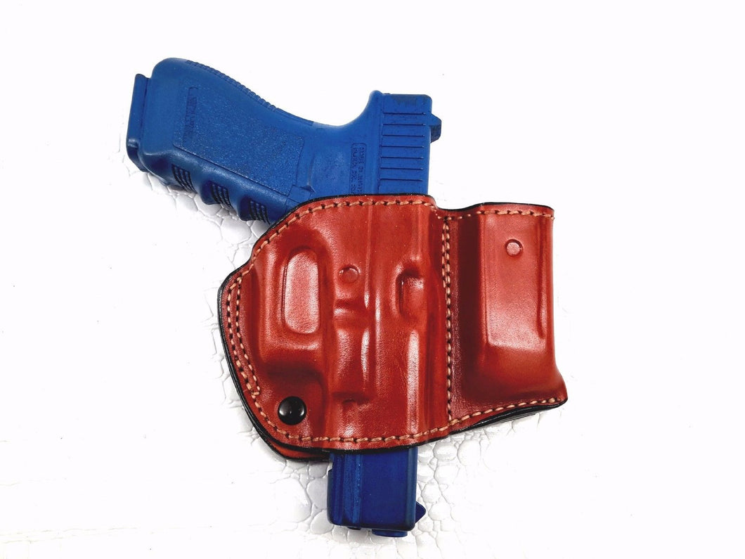 Glock 17/22/31 OWB Right Hand Belt Leather Holster with Mag Pouch