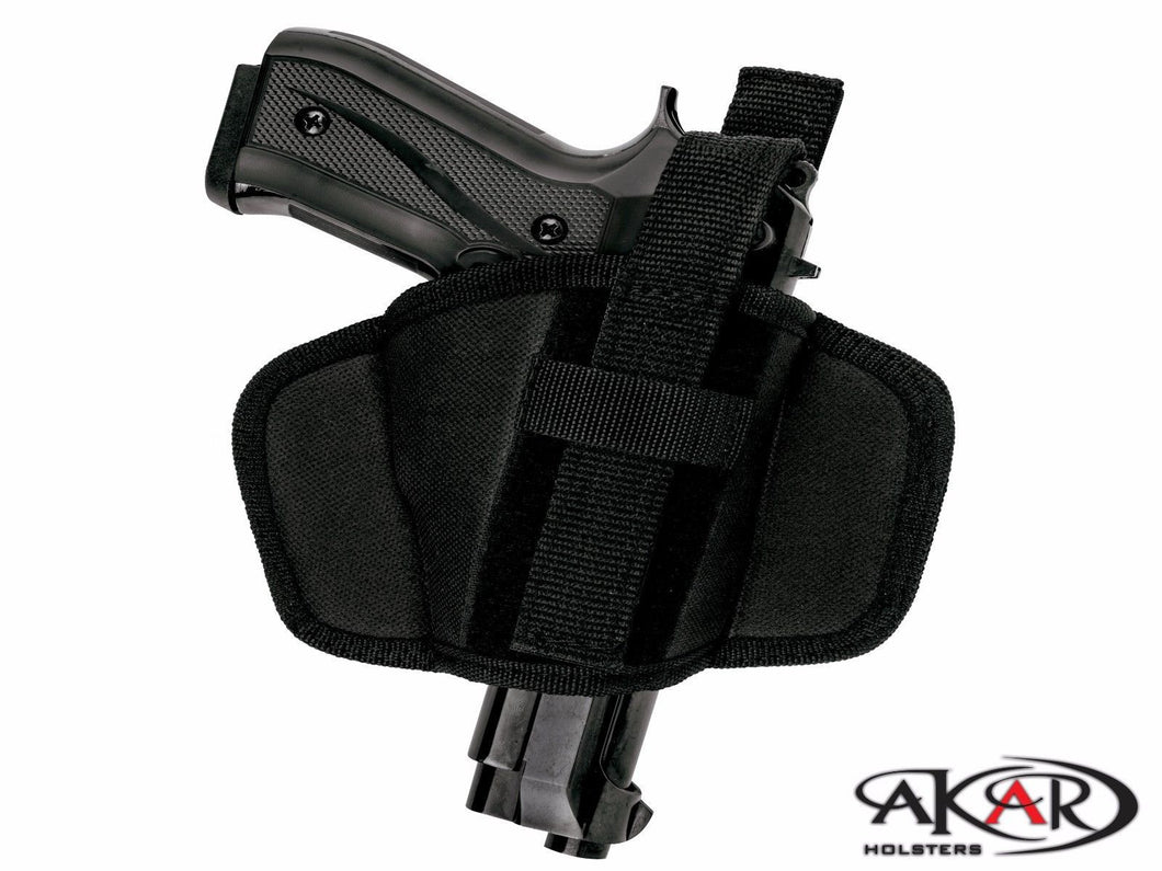 Smith & Wesson SD40VE Leather &  Nylon Thumb Break Pancake Belt Holster, Akar