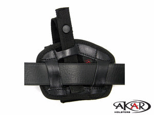 GLOCK 26, 27, 43 Leather &  Nylon Thumb Break Pancake Belt Holster, Akar