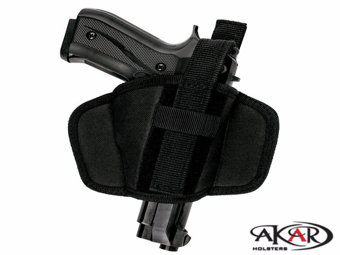 GLOCK 26 Leather &  Nylon Thumb Break Pancake Belt Holster, Akar