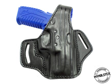 "Load image into Gallery viewer, Springfield XDM 9mm 3.8"" OWB Thumb Break Right Hand Leather Belt Holster"