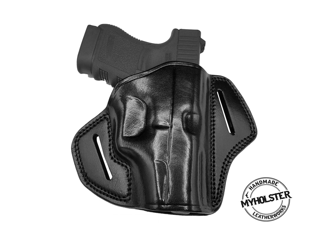 Springfield XD-E Open Top OWB Right Hand Leather Belt Holster