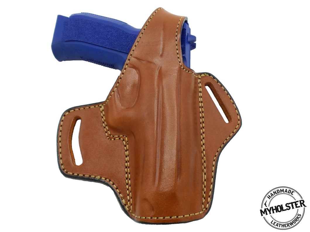 TriStar T-120 9mm (FULL SIZE) OWB Thumb Break Leather Right Hand Belt Holster