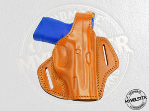 Smith & Wesson M&P 380 Shield M2.0 EZ OWB Thumb Break Right Hand Leather Belt Holster