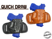 Glock 26/27/33 QUICK DRAW OWB BELT HOLSTER Brown/Black Leather