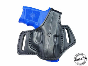 Springfield Armory's 911 .380  Right Hand OWB Thumb Break Black Leather Belt Holster