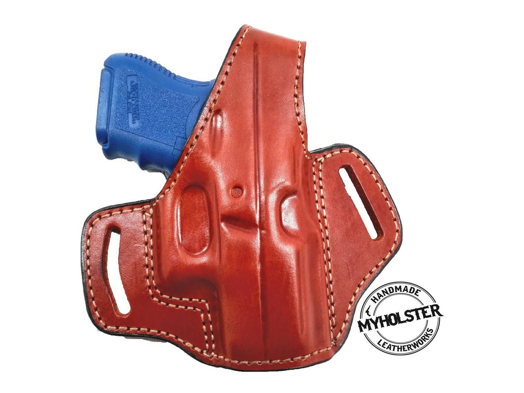 OWB Thumb Break Right Hand Leather Belt Holster Fits GLOCK 26 (Brown)