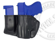 GLOCK 43X  Holster and Mag Pouch Combo - OWB Leather Belt Holster